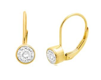Bezel Set 1.00ct Genuine White Topaz 14k Solid Yellow Gold Leverback Earrings
