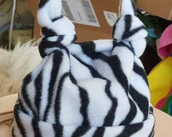 Infant 12 Month Zebra Fleece Hat