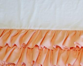 3 Tier Ruffled Crib Skirt  Soft Peach  Girl Crib Bedding  FREE SHIPPING