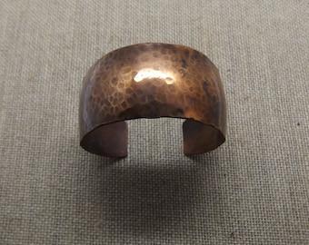 """Copper Domed Patina Cuff Bracelet 1"""" Wide"""