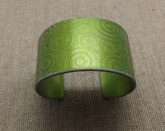 """Aluminum Garden Green Bracelet Cuff 1 1/2"""" Wide"""