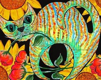 Sunflower Cat - Giclee Print, Whimsical Art, Acrylic Painting, Fine Art Print, Wall Art, Wall Decor
