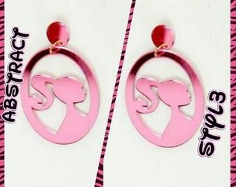 Barbie pink lasercut hoop earrings