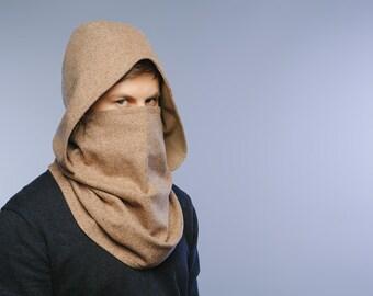 Men infinity scarf / hooded scarf / hooded scarves / beige scarf / men wool scarf / Wool neckwarmer / women scarves / Womens hooded scarves
