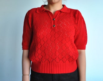 Vintage size medium red knitted shirt