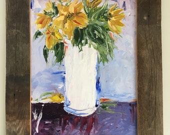 Original oil painting flowers in vase palette knife