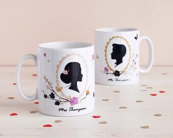 Romantic Silhouette Mr & Mrs Mugs, Set Of Two
