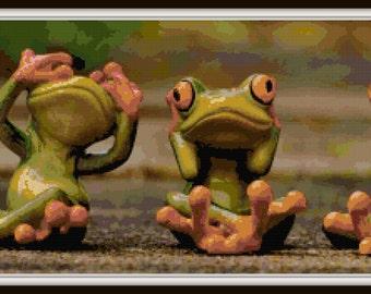 Cross Stitch Frog Pattern - PDF Download - See No Evil, Hear No Evil, Speak No Evil!