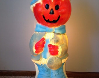 Cute Vintage LARGE Halloween Lighted PUMPKIN Scarecrow Man Yard Decoration