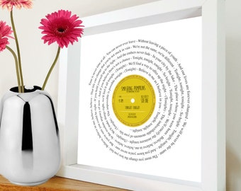 Smashing Pumpkins - Tonight Tonight | Vinyl framed print | Includes song lyrics | All text can be personalised with a special date | Name