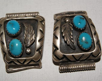 Sterling Silver & Turquoise Native American Vintage Watch Band Ends