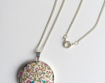 liberty Print Pendant -floral Pendant - liberty of london necklace - sewers gift - crafters Gift