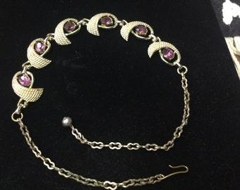 Vintage Necklace/Choker, Goldishtone, Purple Stones