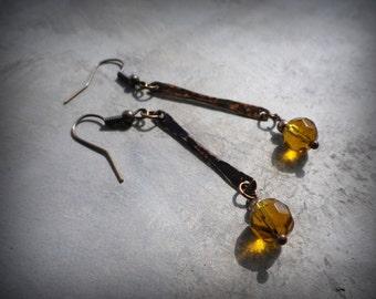 Copper dangle earrings, hammered copper earrings, minimalist earrings, simple earrings, yellow glass beads, rustic primitive jewelry