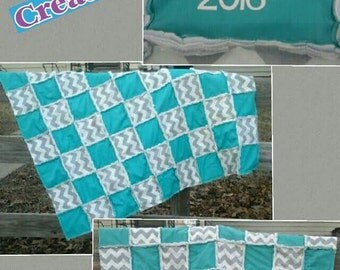 Teal and chevron blanket