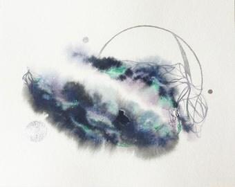 "8x10 Original Watercolor Painting ""Chronosynclastic Infundibulum"""