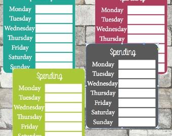 Spending Tracker Sidebar Sticker - Printable Sidebar ECLP Planner Stickers