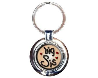 Big Sis Sister Love Hearts Keychain Key Ring