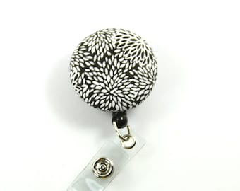 SPARKLY Button Badge, Retractable Badge Reel, Black and white Badge Reel