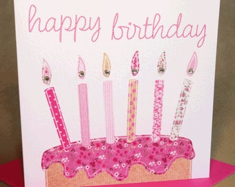 Candles Birthday Card, Jewelled Birthday Card for Woman/Girl