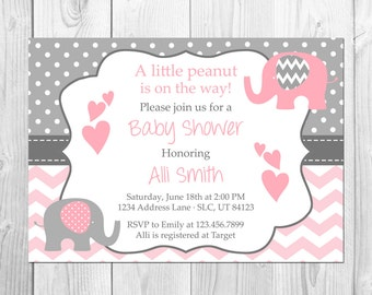 Pink and Grey Elephant Baby Shower Invitation, It's a Girl, Elephant, Chevron, Pink, Little Peanut, Baby Shower Invitation, Girl Baby Shower