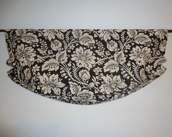 "Jacobean Floral Valance Relaxed Roman Faux Shade Black Ecru Upholstery Fabric 35"" wide Inside or Outside Mount"