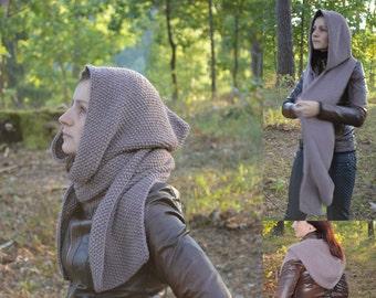 hooded scarf for women or teenager of 100% merino wool