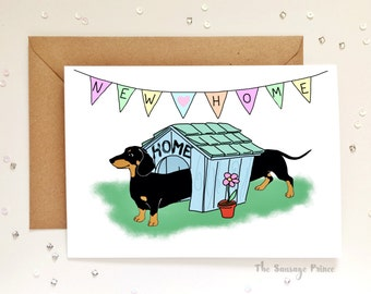 New Home Dachshund Dog A5 Greeting Card