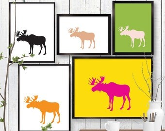 Moose Print, Woodland Wildlife Wall Art, Animal, Room Decor, Poster, Child Baby Nursery A4 A3 A2 8x10 11x14 12x18 16x20