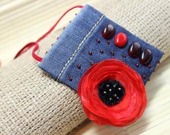Jeans Boho Pendant,Poppy necklace, Jeans Necklace, Bohemian Jewelry