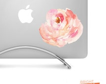 Peach Colored Watercolor Peony Flower 01 - Printed vinyl decal - Perfect for laptops, tablets, cars, trucks, SUVs and more!