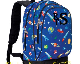 Boys Personalized Backpack. Spaceship Collection. Boys Backpack. Monogrammed Spaceship Backpack