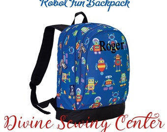 Boys Personalized Backpack. Robots Collection. Boys Backpack. Monogrammed Robots Backpack. 004B