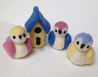 Birds/Birdhouse/Wool Needle Felted/3 Birds/Decor/Nursery