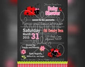 Lady bug Baby Shower Invitations - Red Lady bug invitations - Baby Shower invitations - First Birthday Invitation - lady bug invitations