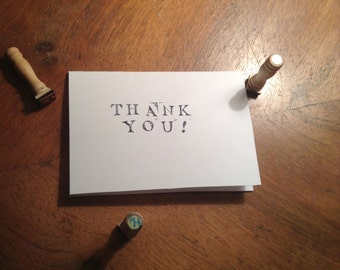 Hand Stamped 'thank you' card Pack of 4