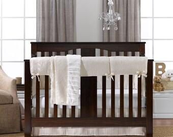 Ivory Toscana Linens Bumperless Crib Bedding Set   Bumper Free Baby Bedding