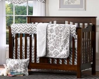 Gray Chevron 4 pc. Crib Set | Bumperless Crib Bedding