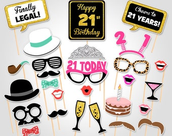 21st Birthday Party Printable Photo Booth Props - Birthday Party Photobooth Props - Digital Download Birthday Party Photo Booth Prop