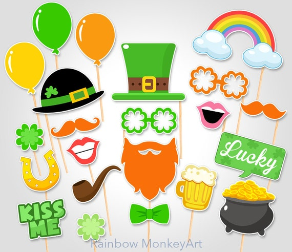 St Patrick's Day Party Celebration Printable Photobooth Props