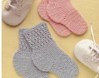 "PDF Crochet pattern baby socks  3.5"" sole 0-6 months Instant Download"