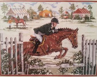 "ON COURSE  Needlepoint Kit   Elsa Williams Kit 06404  Size 16"" x 12""  Challenge, Jumper, Race, Horses, Rider, Fairground, Equestrian, Nature"
