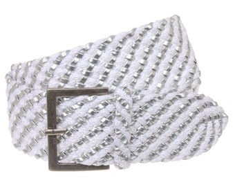 """Women's 2 1/4"""" Wide Fabric Braided Woven Non Leather Belt"""