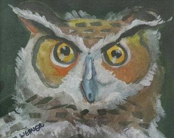 Owl Eyes Original Watercolor Painting