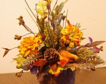 Fall Silk Arrangement with Orange Zinnias in a Natural Cedar Bark Container
