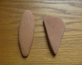 terracotta sea pottery shards, sea pottery pendants (2)