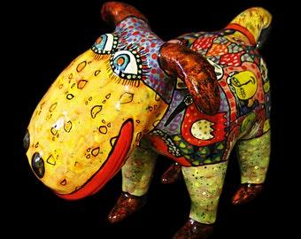 Gifts for dog lovers, Сeramic figurine of a dog, ceramic dog, colorful dog, dog figurine, statuette dog, sculpture dog, happy dog, funny dog
