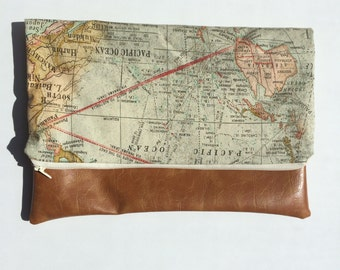 Vintage Map with Vegan Leather Fold Over Clutch