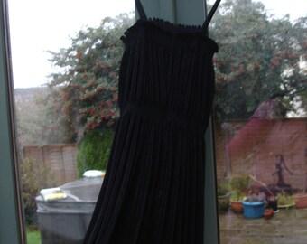Vintage 1970s Black Evening Dress w/ Spaghetti Straps & Matching Jacket DISCO