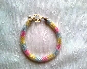 Bracelet Bead crochet rope beaded beadwork jewelry seed beads unique gift handmade for her bracelet beaded bangle bead weaving bangle